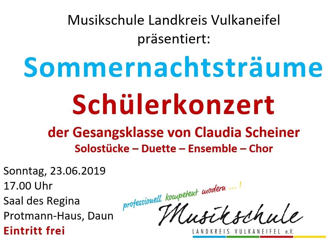 "Einladung zum Schülerkonzert ""Sommernachtsträume"""